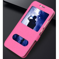 Etui Protection S-View Cover Rose Pour Huawei Honor 6A