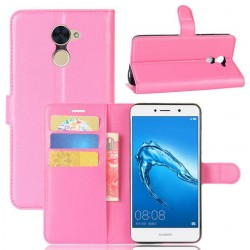 Protection Etui Portefeuille Cuir Rose Huawei Y7 Prime