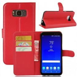 Protection Etui Portefeuille Cuir Rouge Samsung Galaxy S8 Active