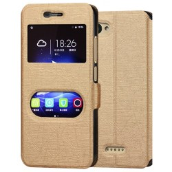 Gold S-view Flip Case For ZTE Blade A601
