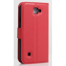 Protection Etui Portefeuille Cuir Rouge LG K3