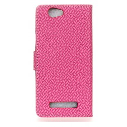 Protection Etui Portefeuille Cuir Rose Wileyfox Spark
