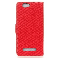 Protection Etui Portefeuille Cuir Rouge Wileyfox Spark