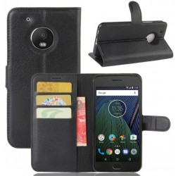 Motorola Moto G5 Plus Black Wallet Case
