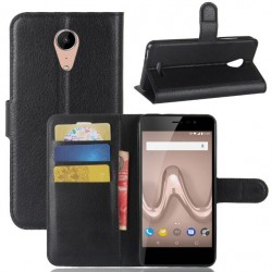 Protection Etui Portefeuille Cuir Noir Wiko Tommy 2