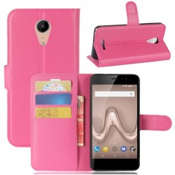 Protection Etui Portefeuille Cuir Rose Wiko Tommy 2