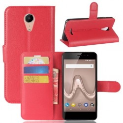Protection Etui Portefeuille Cuir Rouge Wiko Tommy 2