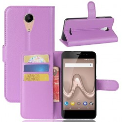 Protection Etui Portefeuille Cuir Violet Wiko Tommy 2