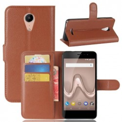 Protection Etui Portefeuille Cuir Marron Wiko Tommy 2