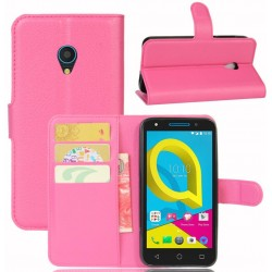 Protection Etui Portefeuille Cuir Rose Alcatel U5