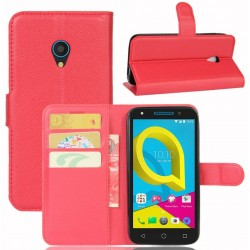 Protection Etui Portefeuille Cuir Rouge Alcatel U5