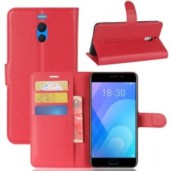 Protection Etui Portefeuille Cuir Rouge Meizu M6 Note