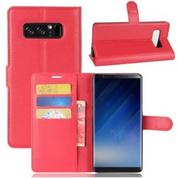Protection Etui Portefeuille Cuir Rouge Samsung Galaxy Note 8