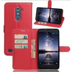 Protection Etui Portefeuille Cuir Rouge ZTE Zmax Pro
