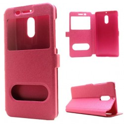 Pink S-view Flip Case For Nokia 6