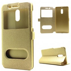 Gold S-view Flip Case For Nokia 6