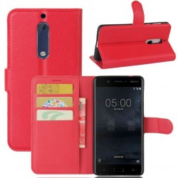 Protection Etui Portefeuille Cuir Rouge Nokia 5
