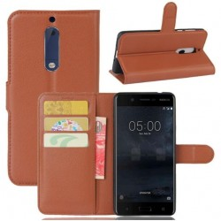 Nokia 5 Brown Wallet Case