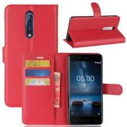 Protection Etui Portefeuille Cuir Rouge Nokia 8