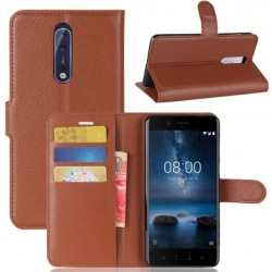 Nokia 8 Brown Wallet Case
