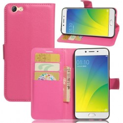 Protection Etui Portefeuille Cuir Rose Oppo A77