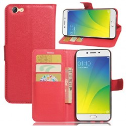 Protection Etui Portefeuille Cuir Rouge Oppo A77