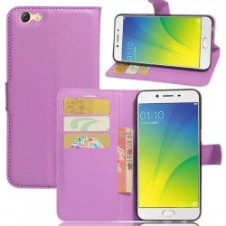 Protection Etui Portefeuille Cuir Violet Oppo A77