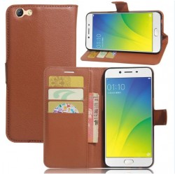 Oppo A77 Brown Wallet Case