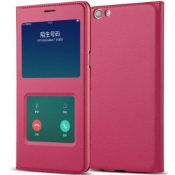 Etui Protection S-View Cover Rouge Pour Oppo A77