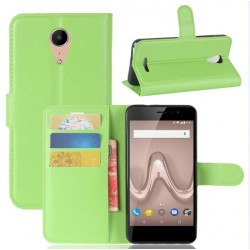 Protection Etui Portefeuille Cuir Vert Wiko Tommy 2 Plus