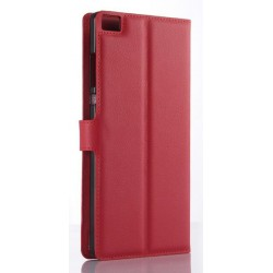 Protection Etui Portefeuille Cuir Rouge Huawei P8 Max