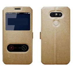 Gold S-view Flip Case For LG Q8