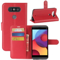 LG Q8 Red Wallet Case
