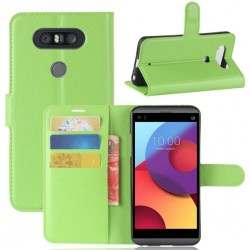 LG Q8 Green Wallet Case