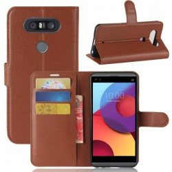 LG Q8 Brown Wallet Case