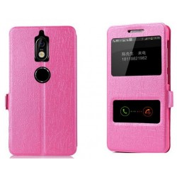 Pink S-view Flip Case For Nokia 7