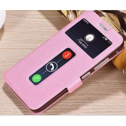 Pink S-view Flip Case For Lenovo Vibe C