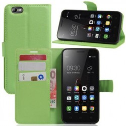 Protection Etui Portefeuille Cuir Vert Lenovo Vibe C