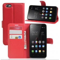 Protection Etui Portefeuille Cuir Rouge Lenovo Vibe C