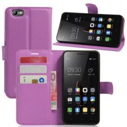 Protection Etui Portefeuille Cuir Violet Lenovo Vibe C