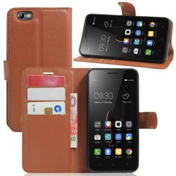 Lenovo Vibe C Brown Wallet Case