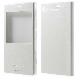 Etui Protection S-View Cover Blanc Pour Sony Xperia XZ1 Compact