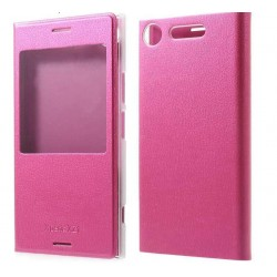 Etui Protection S-View Cover Rose Pour Sony Xperia XZ1 Compact