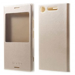Etui Protection S-View Cover Or Pour Sony Xperia XZ1 Compact