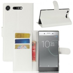 Protection Etui Portefeuille Cuir Blanc Sony Xperia XZ1 Compact