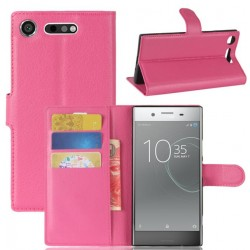 Protection Etui Portefeuille Cuir Rose Sony Xperia XZ1 Compact