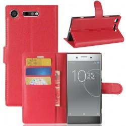 Protection Etui Portefeuille Cuir Rouge Sony Xperia XZ1 Compact
