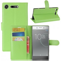 Protection Etui Portefeuille Cuir Vert Sony Xperia XZ1 Compact