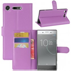 Protection Etui Portefeuille Cuir Violet Sony Xperia XZ1 Compact