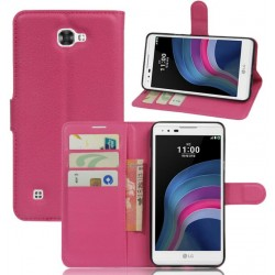 Protection Etui Portefeuille Cuir Rose LG X5